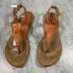 Bjorndal Leather Sandal Orange Thong 9.5M Flat